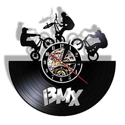 AnnQing BMX Vintage LED Orologio da Parete Bicicletta Motocross Orologio da Record in Vinile BMX Bicicletta da Corsa Concorso Regalo Lampada per Ragazzi Luce Notturna-Without LED