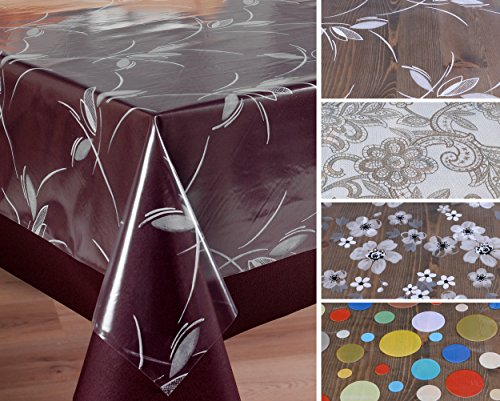 BEAUTEX Transparente Folie Bedruckt Motiv und Größe wählbar, Tischdecke Tischschutz Rund Oval Eckig (Ranke weiß Eckig 140x220 cm)