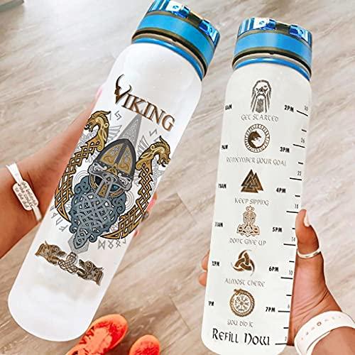 Hothotvery Botella deportiva impresa vikinga Odin guerrero, dragón, marcadores de fathurk, sin BPA, 1 L, ligera, botella de agua para camping, color blanco, 1000 ml