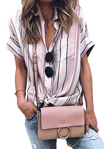 Modasua Damen Bluse Kurzarm Hemd Blusenshirt gestreiftes Hemd V-Ausschnitt Hemd Casual Oberteile Tops Boyfriend Tunika T-Shirt