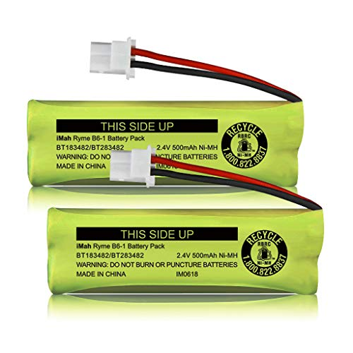 iMah BT183482/BT283482 2.4V 500mAh Ni-MH Cordless Phone Battery Compatible with VTech DS6401 DS6421 DS6422 DS6472 LS6405 LS6425 LS6426 LS6475 LS6476 Handset, Pack of 2