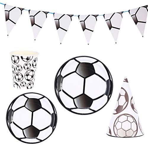 33 pezzi bandiera a tema calcio moda monouso stoviglie bicchieri di carta tovaglioli set di forniture per feste (bianco e nero) decorazioni per banchetti di nozze, bomboniera