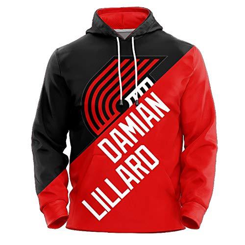 Damian Lillard No.0 Portland Trail Blazer Blazer Coppie Pallacanestro Felpa con Cappuccio Unisex Pop Pop Felpa Pullover Manica Lunga (Color : A, Size : XXL)