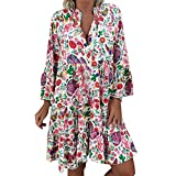 TWGONE Tunic Tops for Women 3/4 Sleeve Boho Loose Print Three Quarter Sleeve Mini Summer Dress(Small,Multicoloured)