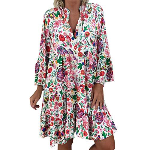 FRAUIT Damen Sommerkleider Chiffon V-Ausschnitt Strandkleider Kurzarm Casual A-Linie Lose Minikleid Boho Blumendruck Knielanges Kleid