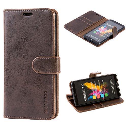 Mulbess Handyhülle für Huawei Honor 7X Hülle Leder, Honor 7X Handy Hüllen, Vintage Flip Handytasche Schutzhülle für Huawei Honor 7X Case, Kaffee Braun