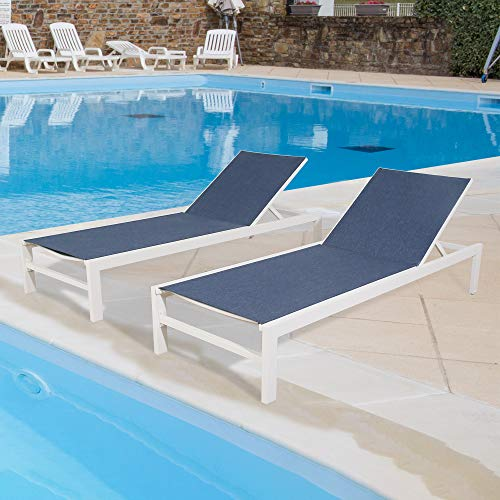 Peak Home Furnishings 2 Pieces Outdoor Aluminum Chaise Lounge Chairs Patio Sling Sun Lounger Set Recliner with Wheels (Navy)