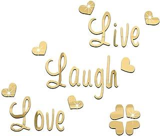 Mirror Wall Sticker-3D Mirror Sticker, Environmentally Friendly Removable Mirror (Live Love Laugh) Love Mirror English Thr...