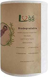 100% Bamboo Unscented Biodegradable Diaper Liners,Gently and Soft, Fragance Free and Chlorine Free - 100 Sheets Per Roll (...