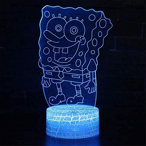 Lámpara de ilusión 3D, luz nocturna 3D para niños Bob Esponja 16 colores interruptor táctil con control remoto para regalos