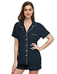 HIGHT QUALITY MATERIAL----Women's cotton pajama set is made of high-quality 95% Polyester and 5% Spandex and good resilience. Material is soft and flowy, lightweight and stretchy, is not easy to shrink and pilling. Excellent fabrics will pamper your ...
