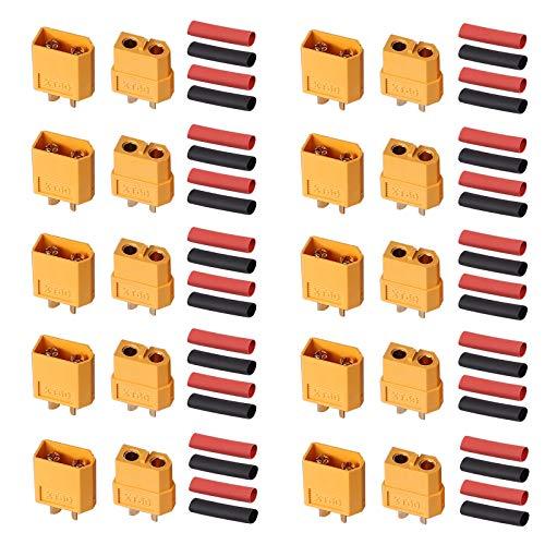 AUTOUTLET 10 Paar XT60 XT-60 Männlich Weiblich Rundstecker Stecker Bullet Steckverbinder Netzstecker mit Wärmeschrumpf für RC Lipo Batterie