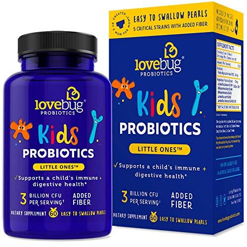 LoveBug Probiotics Kids' Probiotics, Immune and Digestive Health Probiotic, 60 Easy-to-Swallow Pearls