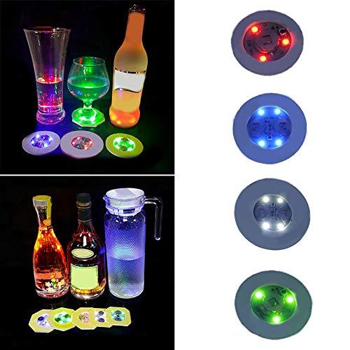 1 dessous de verre lumineux LED créatif S08 pour boisson, bouteille de boisson, tapis de bar, club, fête, dessous de verre pour Halloween, mariage, bar, club bleu