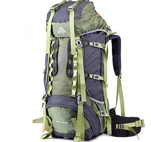 Outdoor randonnée extérieure étanche du sac à dos et résistant à l'usure grande capacité sac à dos 65 + 10 L , army green
