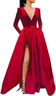 MariRobe Women's High Split Evening Dress V Neck Prom Gown Long Sleeve Party Gown