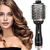 Damenie Haartrockner Heißluftbürste, Aufgerustet 5 in 1 Stylingbürste Negativ-Ionen-Föhnbürste, Warmluftbürste Hair Dry Volumizer Hairstyler Haarglätter Bürste kamm Lockenbürste(Schwarz Roségold)