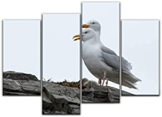 4 Panel a couple of gulls with a chick on a cliff at svalbard islands Canvas Pictures Home Decor Gifts Canvas Wall Art for...