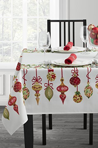 Benson Mills Poinsettia Plaid Garland Herringbone Print Tablecloth (60' X 120' Rectangular, Holiday Trimming)