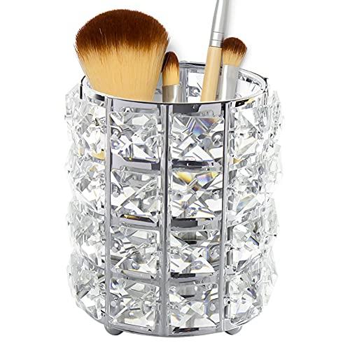 Qualsen organizador de brochas maquillaje , Cristal Bling Cosmético Almacenamiento Vela Taza Lápiz Pluma Contenedor Velas, Plata