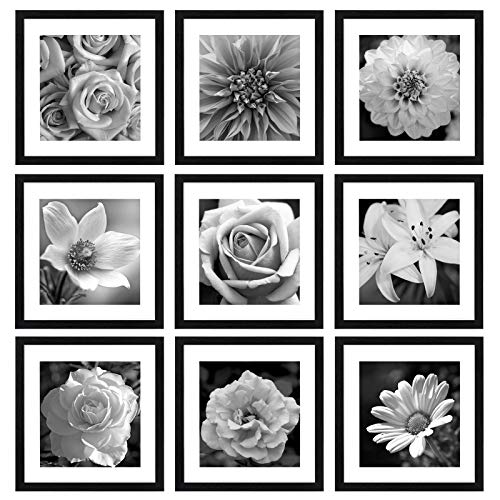 eletecpro 12x12 Picture Frames Black Set of 9,Wooden Square Photo Frame Displays 8x8 With Mat and 12x12 Without Mat,Poster Frame for Wall Hanging Home Decoration-Mounting Hardware Included