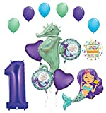 Mermaid Wishes and Seahorse 1st Birthday Party Supplies Balloon Bouquet Decorations