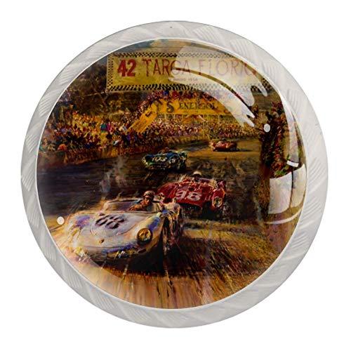 Xingruyun Pomos y Tiradores Rally de Coches Dibujados a Mano Perillas de gabinete Manijas de Las Puertas Pomos para Muebles Alacena Baño Cajón del Armario 4pcs 3.5×2.8CM