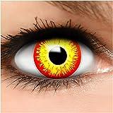 Farbige Kontaktlinsen Horror Clown in rot gelb + Behälter - Top Linsenfinder Markenqualität, 1Paar (2 Stück) -