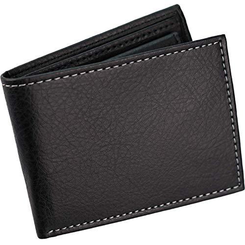 Cartera Hombre pequeña -  con Monedero,  6 Ranuras para Tarjetas,  Compartimento para Billetes con Bolsillo Secreto,  Visor para DNI o Foto,  Color Negro