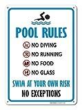 Schwimmbadschild Schwimmbad Regelschild blau rot schwarz auf weiß Warnschild Hausdeko Hofzaun Vorsicht Hinweisschild Lustige Metallschilder 8x12