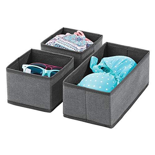 mDesign Juego de 3 cajas organizadoras – Cestas de tela transpirable para ropa interior, leggings, etc. – Versátiles organizadores de cajones para dormitorio o habitación infantil – gris pizarra/negro