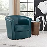 Grafton Home Madison Faux Leather Swivel Barrel Accent Chair, One, Teal