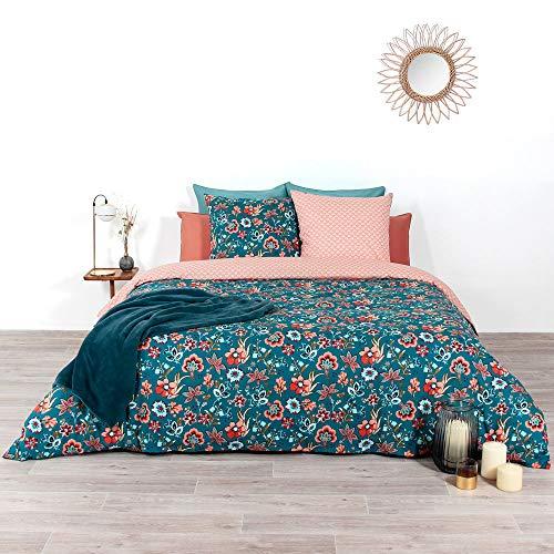 CÔTE DECO Parure de lit avec Housse de Couette 220x240 cm + 2 Taies d'oreiller 63x63cm Parure de lit pour 2 Personnes Fleurs Rose, Rouge et Bleu 100% Coton Bio*