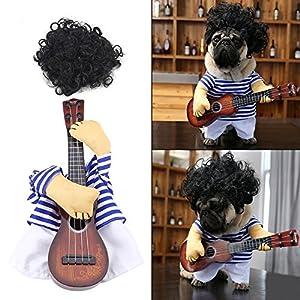 Fdit Costume de Chat Chien Costume Vêtement de Chien Costume drôle Guitariste en Coton Premium Animaux de Compagnie