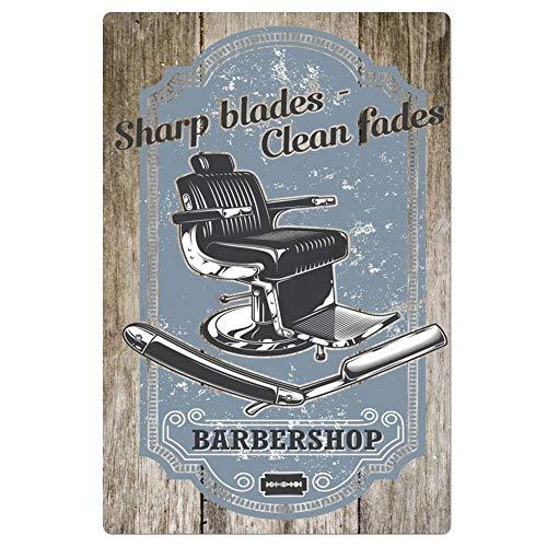 Lumanuby. 1x 'Barbershop' Decorazione Targhe in Metallo di Immagine di Sedia per Taglio di Capelli e Rasoio Retro Placca in Lamiera con Parola 'Clean Fades' per Il Barbiere e Parrucchiere 20x30cm