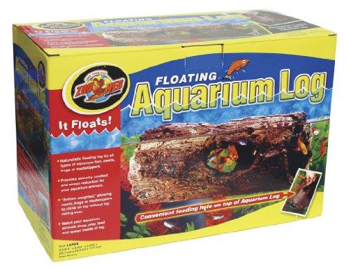 Zoo Med FA-30 Floating Aquarium Log, LG schwimmendes Versteck für Fische, Holzstammoptik, rollt nicht im Wasser