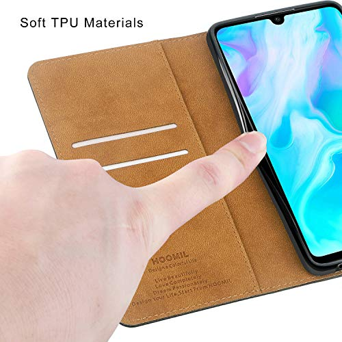 HOOMIL Handyhülle für Huawei P30 Lite Hülle, Premium Leder Flip Schutzhülle für Huawei P30 Lite Tasche, Schwarz - 6