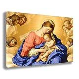 Printerland Cuadro Sagrada Familia 70x100 cm Yeso Madonna - Reparación impresión sobre Lienzo Cuadros Modernos Arte Abstracto Cocina salón Dormitorio