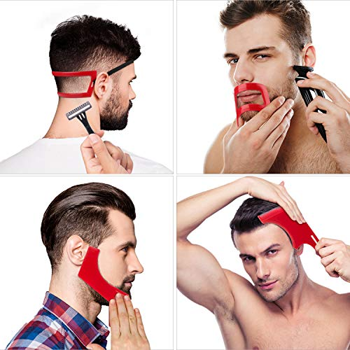 4 Pieces Beard Shaping and Haircut Tool Kit, Beard Shaping Tool, Neckline Template Guide, Hairline Template Stencil, Mustache Edge Shaving Template for Men Hair Styling Beard Trimming Tool