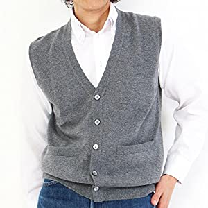 GOBI(ゴビ) カシミヤ100% メンズ ボタン ベスト ニット カシミヤベスト カシミヤ カシミア 紳士 男性