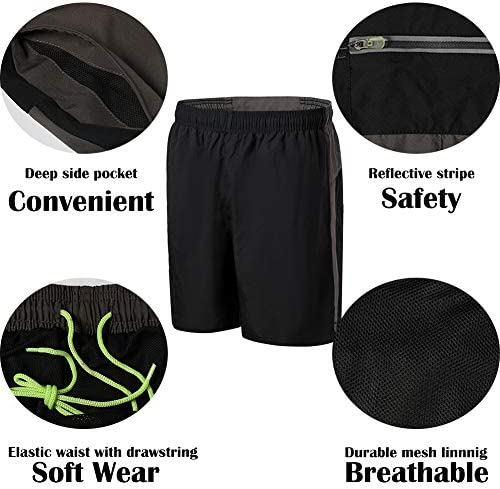 """SNOW DREAMS Mens Running Shorts Active Workout Shorts 5"""" Lightweight with Reflective Stripes Mesh Liner"""