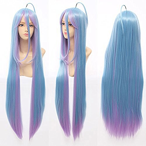 Price comparison product image Anogol Hair Cap Cosplay Wigs Long Blue Pink Straight Halloween Party Hair Synthetic Wig