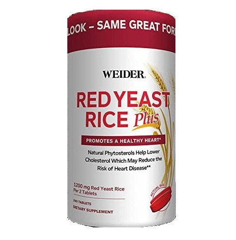 Weider Red Yeast Rice Plus with Phytosterols 1200 mg per 2 Tablets - 240 Tablets