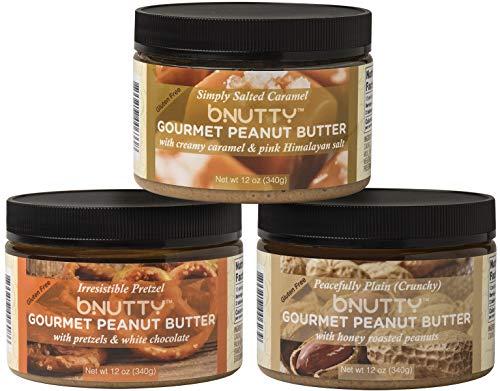 BNutty Gourmet Peanut Butter - Simply Salted Caramel, Peacefully Plain Crunchy, Irresistible Pretzel - Gluten Free - Natural Peanut Butter - Made in USA - 12oz Jars - 3 Pack