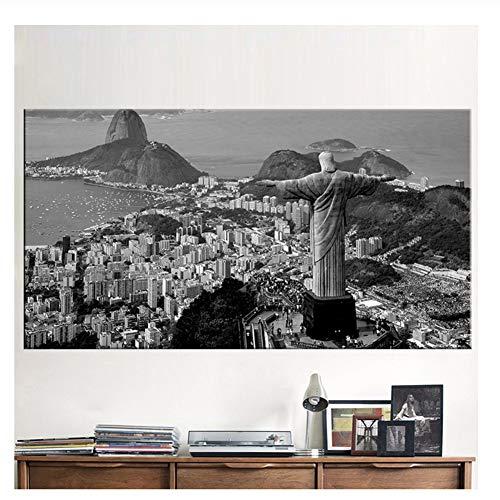 Suuyar Brazil Rio de Janeiro Canvas Prints Painting Night View City Landscape Wall Art Picture Print on Canvas-70x140cm No Frame