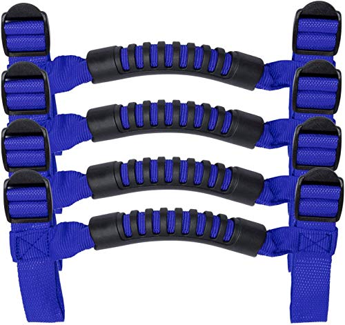 4 x Roll Bar Grab Handles Grip Handle for Jeep Wrangler YJ TJ JK JKU JL JLU Sports Sahara Freedom Rubicon X & Unlimited 1955-2020 (Roll Bar Blue)