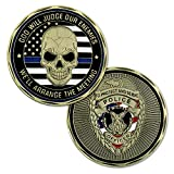 St. Michael Law Enforcement Challenge Coin Thin Blue Line Police Officer Gift