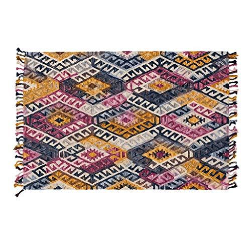 JXLBB Wol Geometrische Amerikaanse Tuin Verdikking Kamer Tapijt Koffie Tafel Nachtkastje Deken Handgemaakte Weven Fringe Craft Exotische Stijl