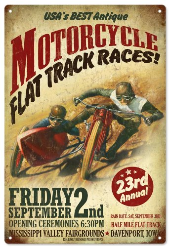 Victory Vintage Signs Motorcycle Flat Track Races Advertisement Garage Reproduction Art