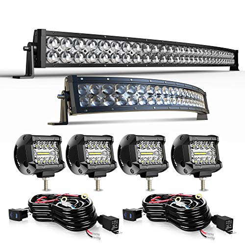 DOT Curved 42Inch 240W&22Inch 120W 5D LED Light Bar+4Inch 60W LED Light Pods W/Wiring Harness for ATV utv SUV Polaris Truck Tractor Marine Can Am x3 Honda GMC Sierra Boats Yamaha Kubota Hummer F150